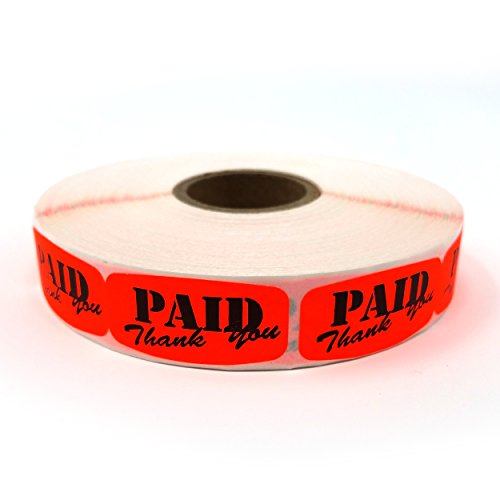 Paid Thank You Store Sticker, Fluorescent Orange Self-Adhesive Retail Merchandise Labels - 1000 Pack