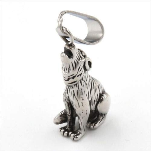 1pc Silver Stainless Steel Wolfhound Wolf Dog Demi-Wolf Pendant Mens Necklace UN5X]()