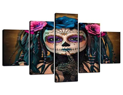 Large Animated Tattoo Girls Painting on Canvas 5 Panel Wall Art Retro Day of the Dead Painting Mystic Pictures Print For Home Decor Framed for Living Room Giclee Stretched Ready to Hang(60''Wx32''H)