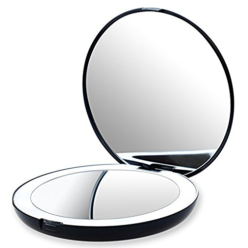 """Ultimate Beauty 5"""" Travel Makeup Mirror – Daylight LED Lighted, 7X Magnification, Fold-able, Lightweight, Portable Light Compact, Led Ring Illuminated"""