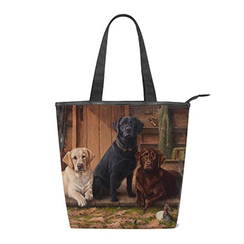 - Labrador Retrieverdog Women's Handbags Canvas Shoulder Bags Retro Casual Tote Purses