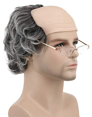 Balding Man Wig (Karlery Short Curly Fits Old Man Bald Cap Gray Mad Scientist Halloween Cosplay Wig Anime Costume Party)