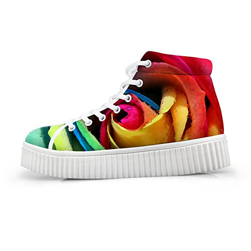 Bigcardesigns Klassieke Multi-color Bloemenontwerp Casual Outdoor Platte Schoenen Sneakers Multi-color3