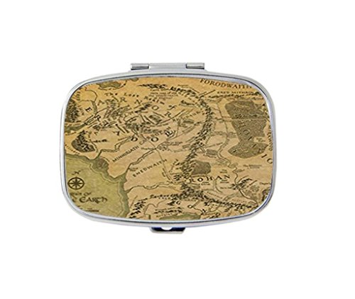 Middle Earth Map Personalized Custom HOT Sale stainless steel Pill Case Box Medicine Organizer Gift ()