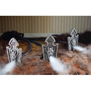 Tombstone Trio Prop with Fog Machine Accessibility