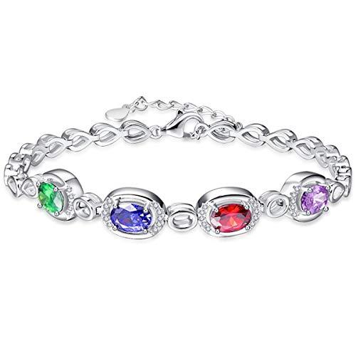 (BONLAVIE Women's Oval Cut & Round Cut Multi-Colored Gemstone 925 Sterling Silver Link Chain Bracelet)