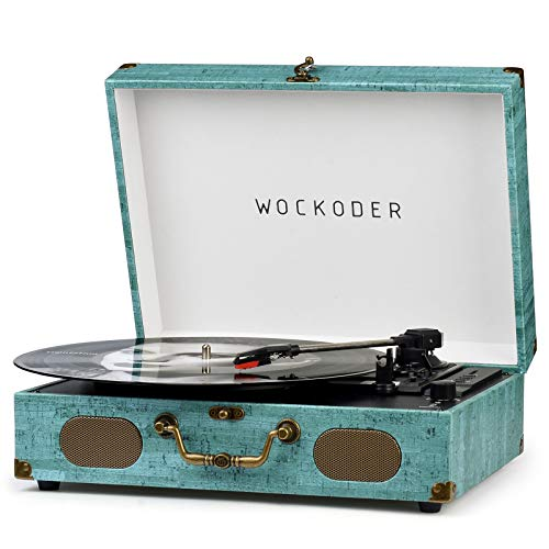 Record Player Turntable for Vinyl Record Player Wireless LP Portable Phonograph with Built-in Dynamic Speakers Suitcase Design Turntable USB SD 3-Speed Belt-Driven Vinyl Record Player