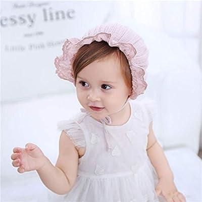 Visera Ajustable para beb/és de 3 Meses a 2 a/ños de Edad Gaocheng Transpirable Gorro de algod/ón con Encaje Floral para reci/én Nacido