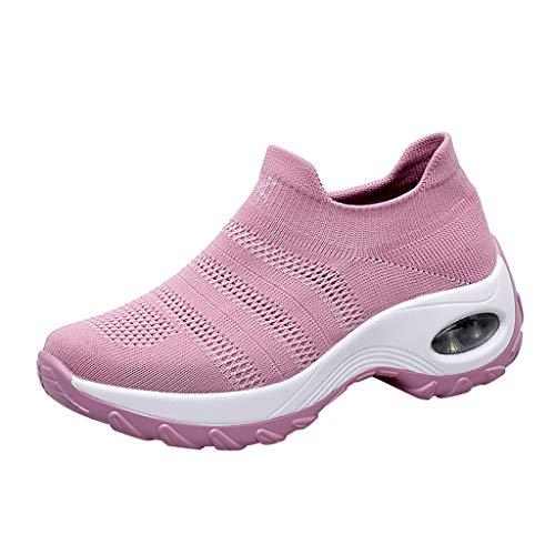Emimarol Women's Slip-On Sneakers Mesh Loafer Casual Beach Street Walking Shoes Pink