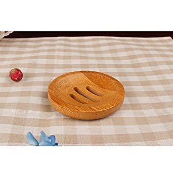 Milopon bo/îte /à Savon Porte-Savon Bo/îte /à savon ronde Bo/îte /à savon en bambou d/étanch/éit/é Savon /égouttoir Case Naturel Bois fait /à la main Bo/îte /à Savon
