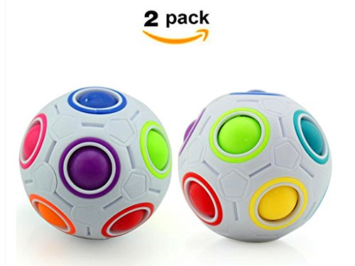 Cuberspeed Bundle 2 pcs Magic Rainbow Ball Fidget Toy Puzzle Magic Rainbow Ball Puzzle Fun Fidget