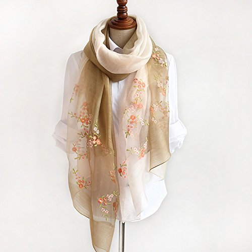 DIDIDD Female Winter Scarf All-Match Mulberry Silk Scarves and Embroidered Silk Shawl Scarf,Light green by DIDIDD
