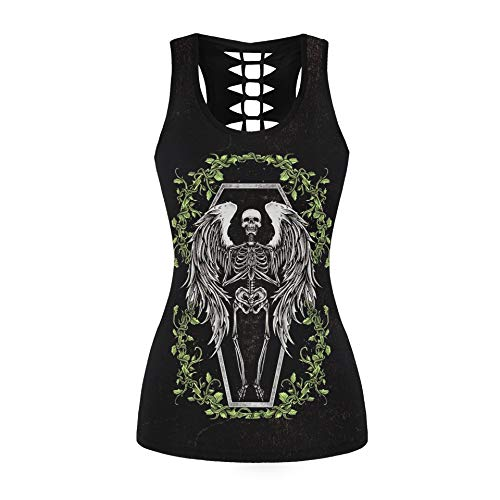 Womens Skull Shirts Cut Out Workout Yoga Running Tank Tops Sleeveless Casual Shirts Tops (L/XL, Skeleton Angel 031)