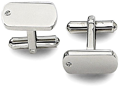 ICE CARATS Stainless Steel Diamond Accent Cuff Links Mens Cufflinks Man Link by ICE CARATS