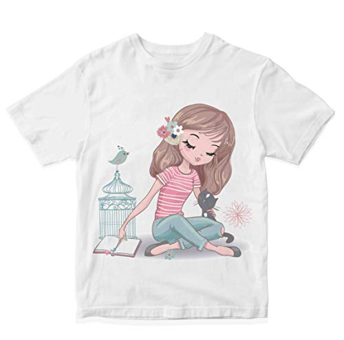 Heybroh Girls' Regular Fit T-Shirt Girl with Her Cat & Bird 100% Cotton Girl's Unisex Fit T-Shirt