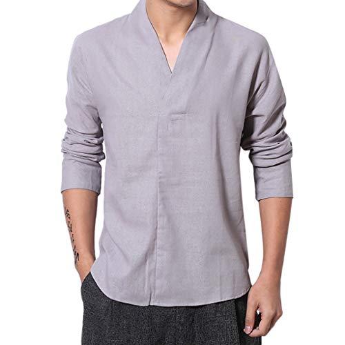 Hstore Men's Summer Casual Cotton Linen Pure Color Three Quarter Sleeve T-Shirts Tops Gray