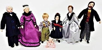 Melody Jane Casa de Muñecas Victoriana Familia de 7 Personas Miniatura Porcelana Figuras
