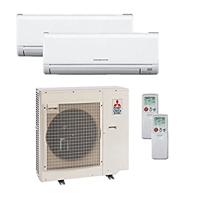 30,000 Btu 19 Seer Mitsubishi Dual Zone Ductless Mini Split Heat Pump System - 12K-18K
