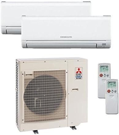 Amazon Com Mitsubishi 24 000 Btu 20 Seer Dual Zone Ductless Mini Split 12k 12k Heat Pump System Ac And Heat Home Kitchen