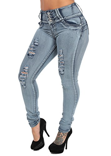High Waist Butt Lifting Skinny Jeans With Distressed Front (Faded Blue)-11