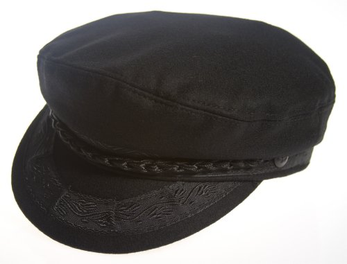 Aegean Authentic Greek Fisherman's Cap - Wool - Black - Size 61 - (7 5/8) (Cap Fisherman Greek)