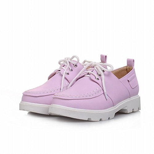 Carol Shoes Sweet Womens Lace-up Carino Cuciture Moda Comfort Scarpe Oxford Basso Grosso Tacco Viola