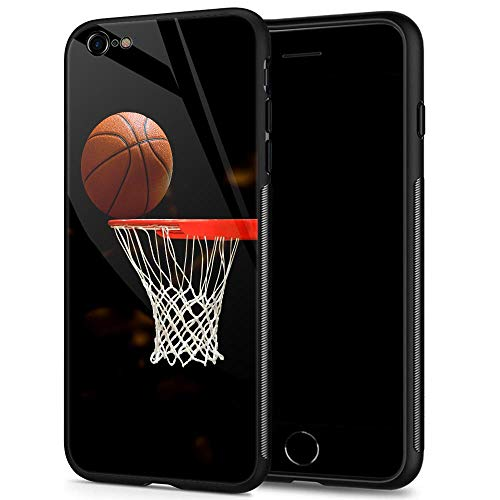 iPhone 6s Case,9H Tempered Glass iPhone 6 Cases for Men Boys,Funny Basketball Pattern Design Printing Shockproof Anti-Scratch Case for Apple iPhone 6/6s 4.7 inch Basketball (Cases Apple Iphone 6 Boy)