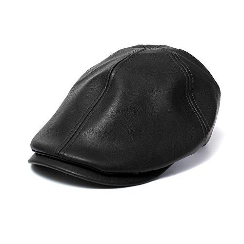 New Mens Leather (Besde Winter Unisex Men Vintage Leather Beret Hat Cap Beanie Hip-Hop Hat Solid (Black))