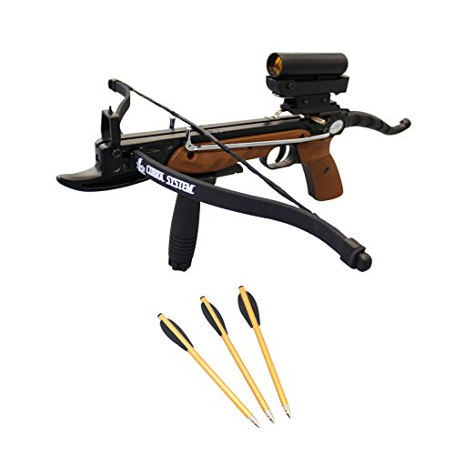 Prophecy 80 Pound Aluminum Self-cocking Pistol Crossbow with Cobra System Limb Package with Red Dot Scope + Pack of Bolts + Stringer
