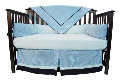 Caught Ya Lookin' Crib Bedding Set, Blue and White Seersucker (Seersucker Baby Bedding)
