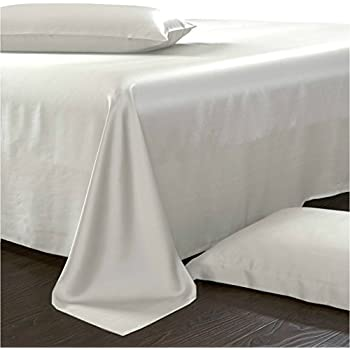 100% Silk Sheet Set Queen White Pure Luxurious Mulberry Charmeuse Silk 4  Piece Set By
