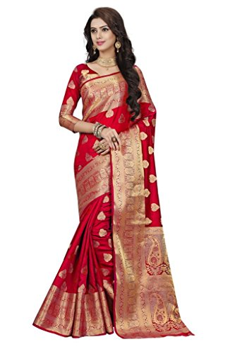 India Saree (Li Te Ra Women's Silk Jacquard Saree Free Size Red)