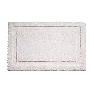 "InterDesign Microfiber Spa Bathroom Accent Rug, 34"" x 21  Inches, White"