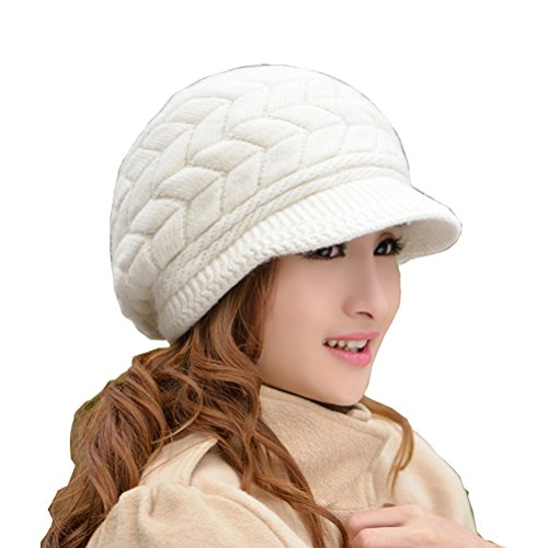 37aaa42671d283 HINDAWI Women Winter Warm Knit Hat Wool Snow Ski Caps With Visor ...