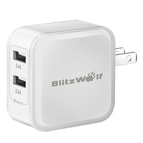 Price comparison product image BlitzWolf 4.8A 24W Dual USB Travel Wall US Charger With Power3S Tech For iPhone iPad Samsung etc.