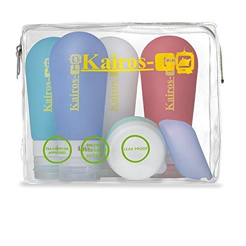 KAIROS-GO Ultimate 6-Piece Travel Toiletry Bottles Set 4x 3oz Leakproof TSA-Approved Silicone Squeeze Liquid Containers, Portable Toothbrush Holder Cream Pills Jar In Clear Carryon Case