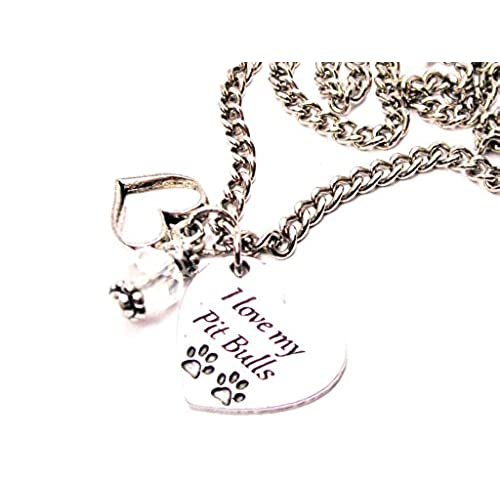 Pit bull necklace amazon chubbychicocharms i love my pit bulls heart and crystal 18 necklace aloadofball Choice Image