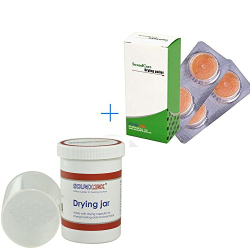 Hearing Aids Drying Kit Drying Jar Drying Dehumidifier Dryer (Two Cards Drying Pallets and One Drying Jar) (60*85mm)