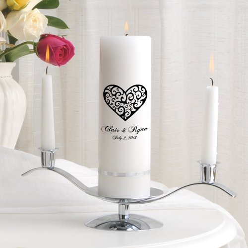 Personalized Unity Wedding Candle - Personalized Wedding Candle - Wedding Gift - Monogrammed Wedding Unity Candle - Vintage Heart