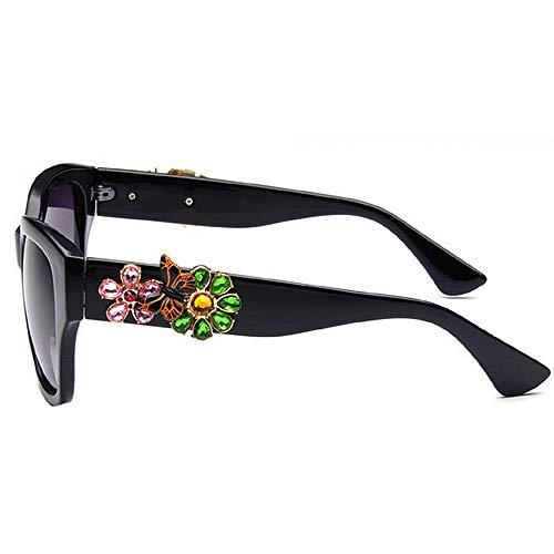 Plage d'été Soleil Frame de Vacances KOMEISHO pour la Vintage la Nuances Conduire Noir Crystal Full Lunettes Couleur Designer Rose Protection Brillants nouveauté Flower UV400 Lady pRwUwqYP