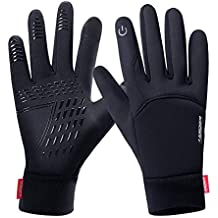 FengNiao Winter Warm Gloves Men Women Touchscreen Windproof Outdoor Running Skiing Driving Thermal Gloves(Black)