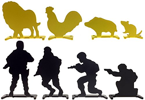 SP Full Steel Soldier & Animal Shooting Targets 8 pcs for AEG GBB Airsoft – Black/Yellow by SportPro
