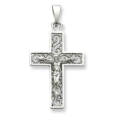 Or blanc 14 carats Pendentif Croix en filigrane-Dimensions :  27,5 x 52,4 mm-JewelryWeb