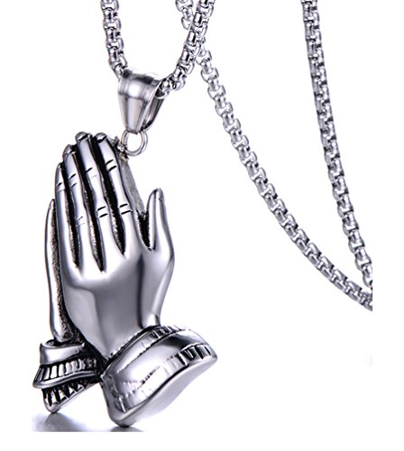Fusamk Hip Hop Religion Stainless Steel Prayer Hand Tag Pendant Necklace