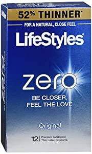 Lifestyles Zero Premium Lubricated Condoms 52% Thinner Than Our Extra Strength Condom, 12 Count