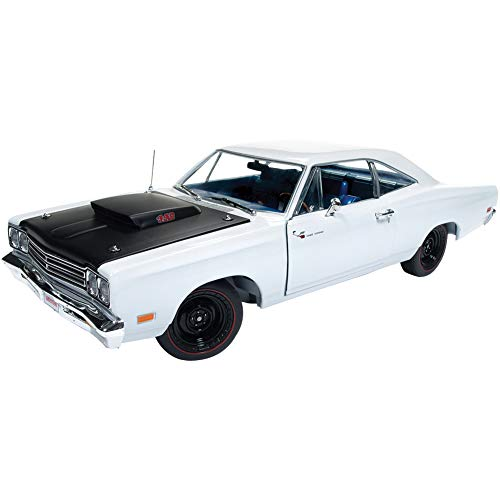 (New DIECAST Toys CAR AUTO WORLD 1:18 American Muscle - 1969 1/2 Plymouth Road Runner (White) - Hemmings Muscle Machines Cover CAR May 2008 AMM1147)