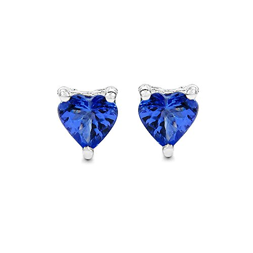 Johareez Tanzanite Heart Shape Stud Earrings in Sterling Silver