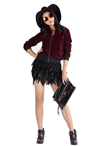 CHARLES RICHARDS CR Women's Black Feather Mid Waist A-line Mini skirt,Small