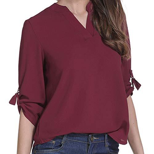 Vin Femme rouge Top Longues col Chemise Chemisier Sweatshirt Subfamily V Haut Manches Tops en 7qHOwS