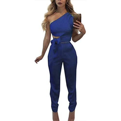 Nice FANCYINN Women 2 Pieces Outfit One Shoulder Sleeveless Top and Bodycon Long Pants Jumpsuit Club Style supplier
